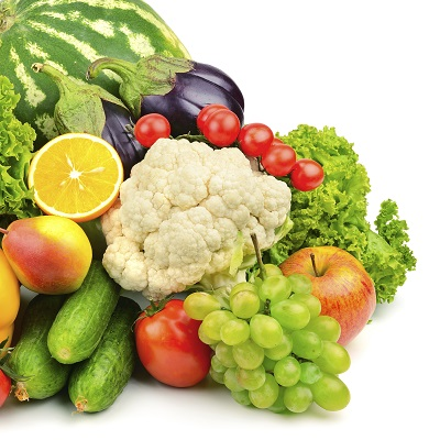 Fruit and Vegetables piled high